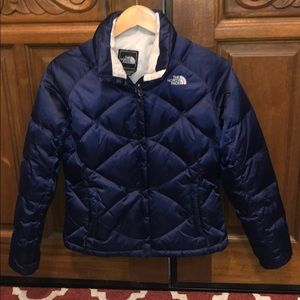 The North Face 550 navy down jacket womens Small